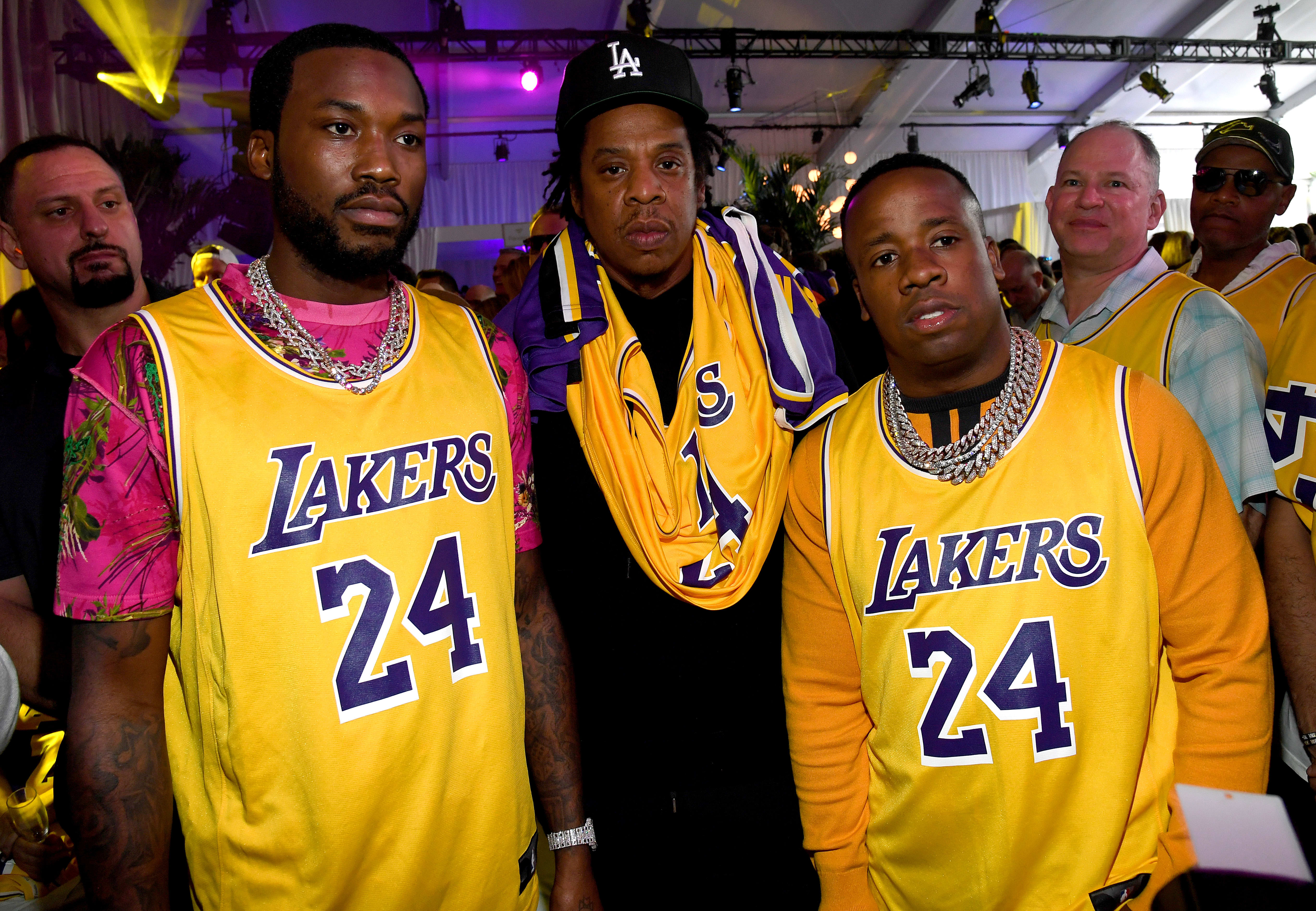 JAY Z, Meek Mill, and Yo Gotti Arrive To The Super Bowl in Kobe Bryant Tribute Jerseys