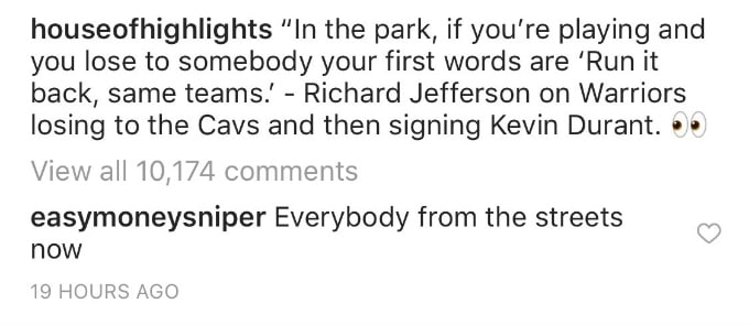Kevin Durant comments on House of Highlights' Instagram page