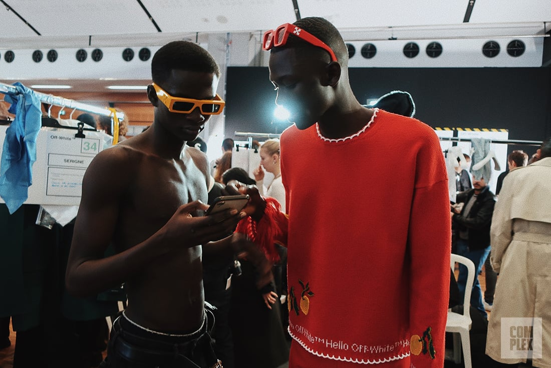 Complex Backstage with Models at Off White Fall/Winter 2020 Runway