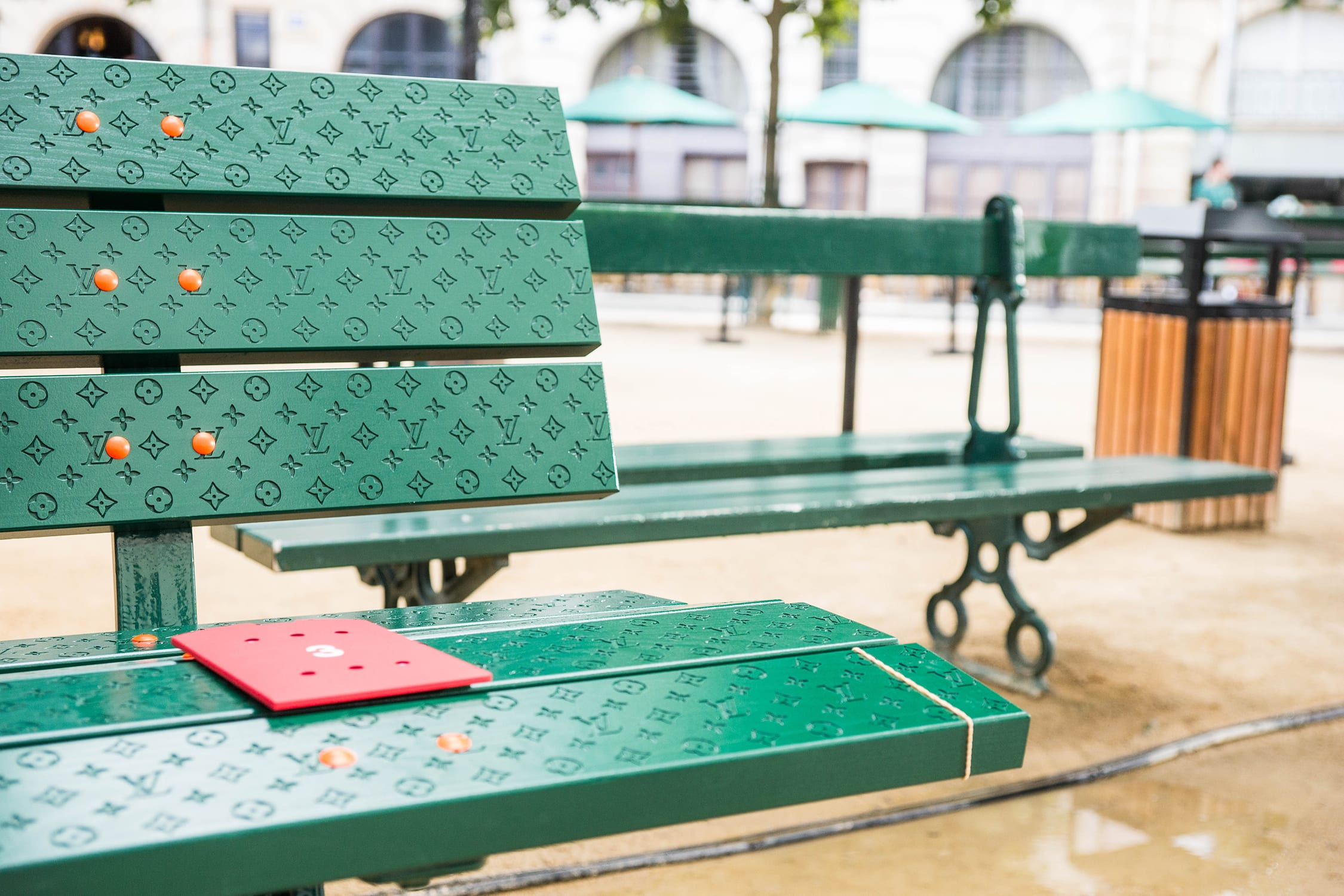 Detailed Shot of the Louis Vuitton Bench for the men's Spring Summer 2020 Runway Show.