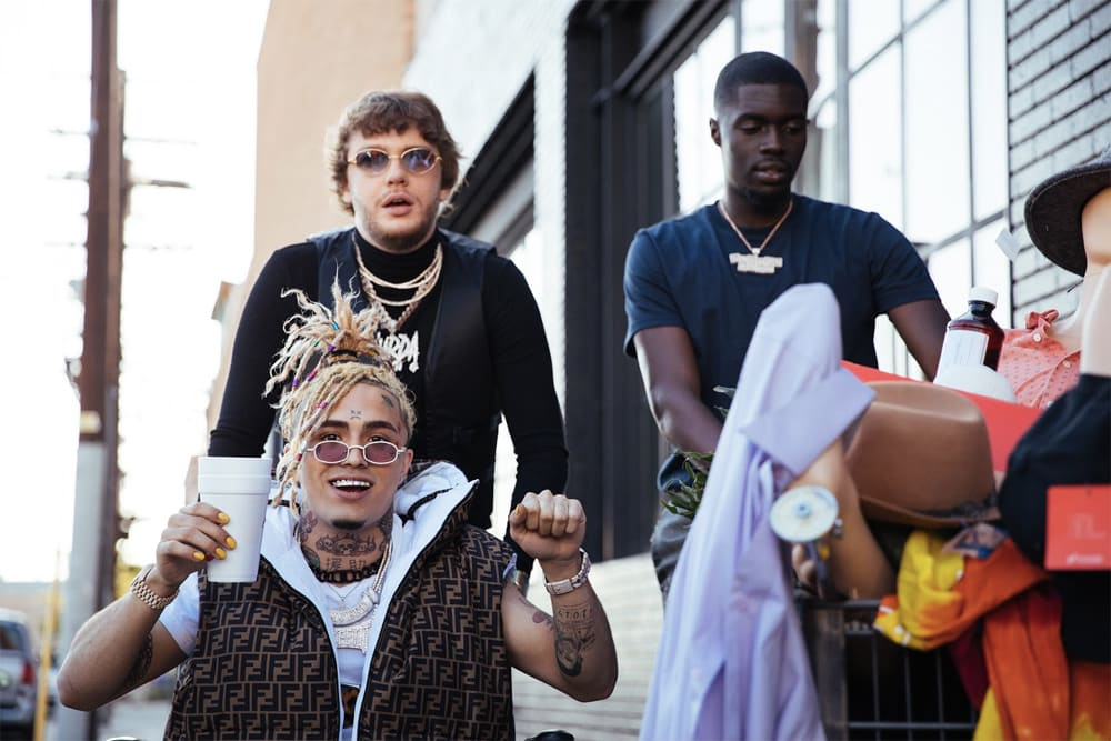 """Murda Beatz, Lil Pump, and Sheck Wes on set of """"Shopping Spree"""" music video"""