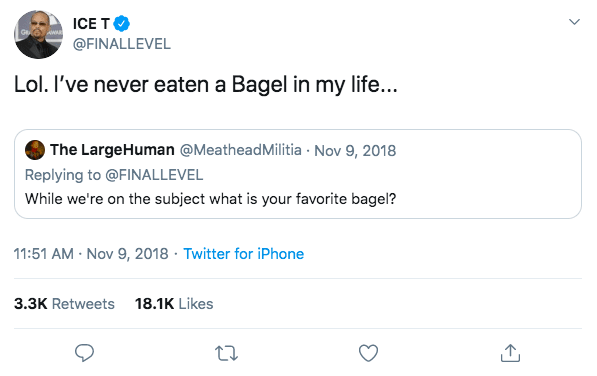 "Ice T tweet: ""Lol. I've never eaten a Bagel in my life..."""