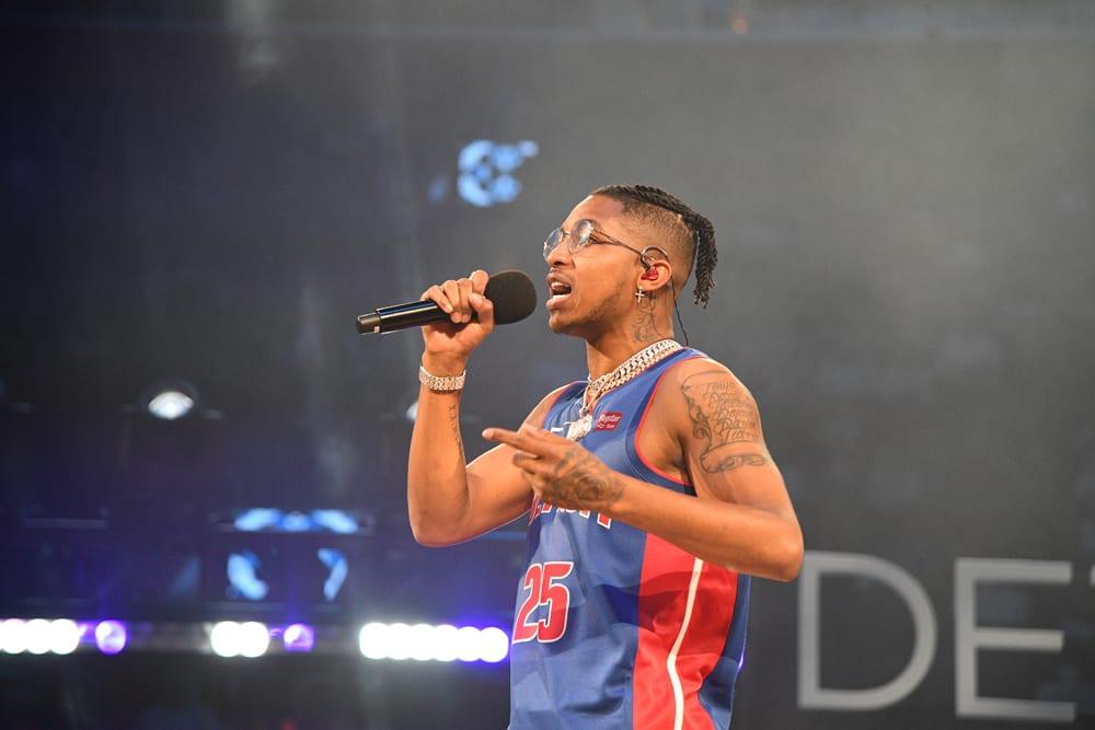 DDG performs during the halftime of Atlanta Hawks v Detroit Pistons on October 24, 2019