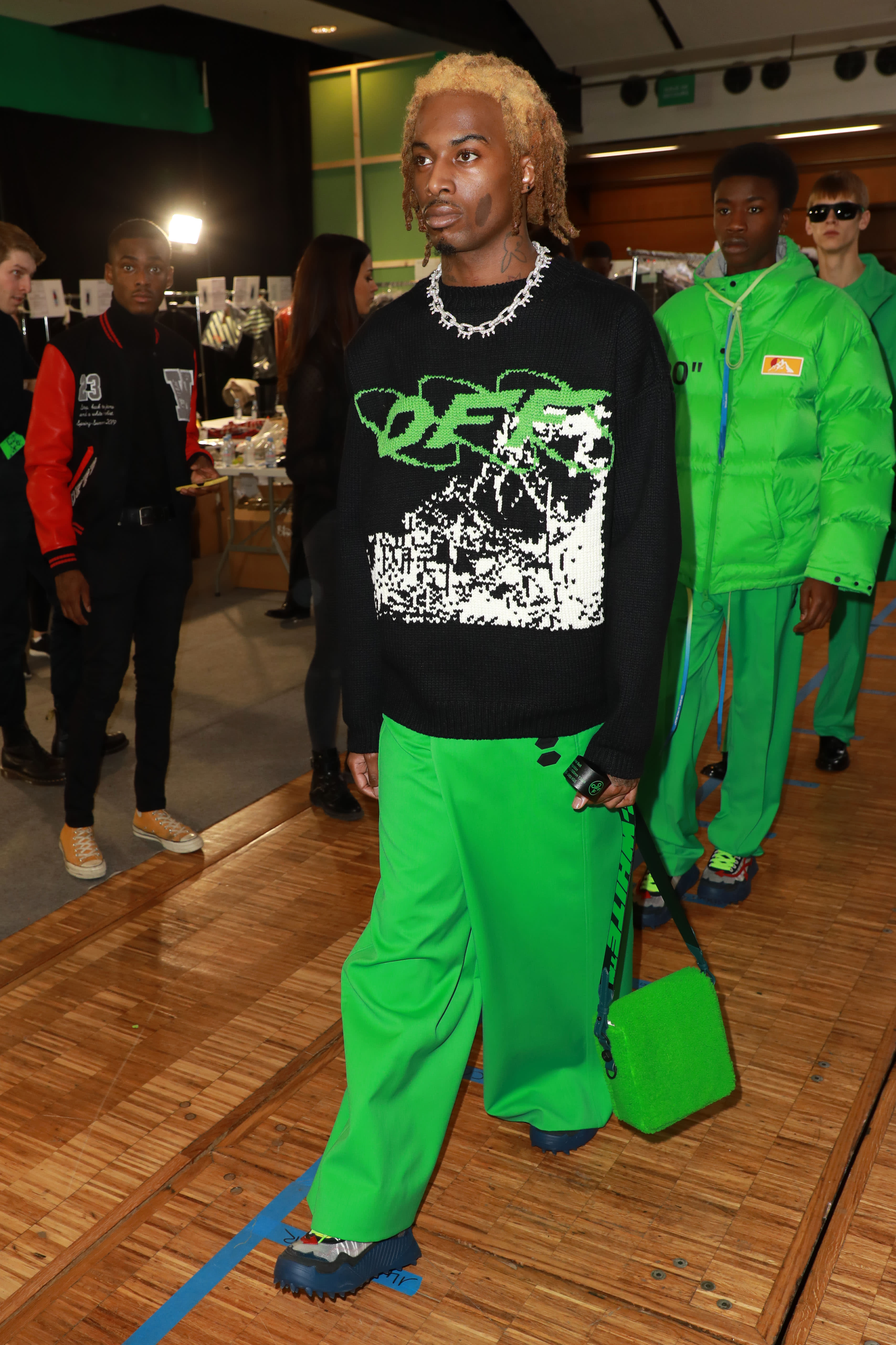Playboi Carti Backstage At Off-White's Runway Show