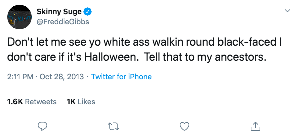 Freddie Gibbs tweet warning people not to do blackface on Halloween