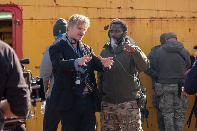Christopher Nolan and John David Washington on the set of 'Tenet'