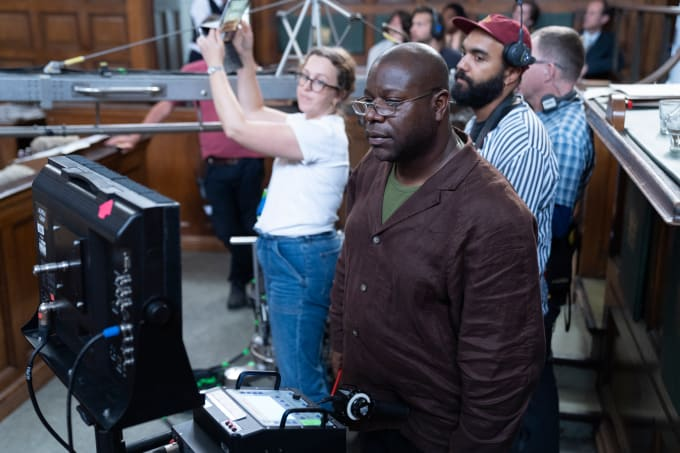 Director Steve McQueen on the set of Mangrove