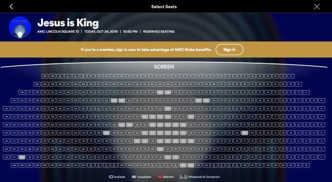 Jesus Is King IMAX seat chart opening night