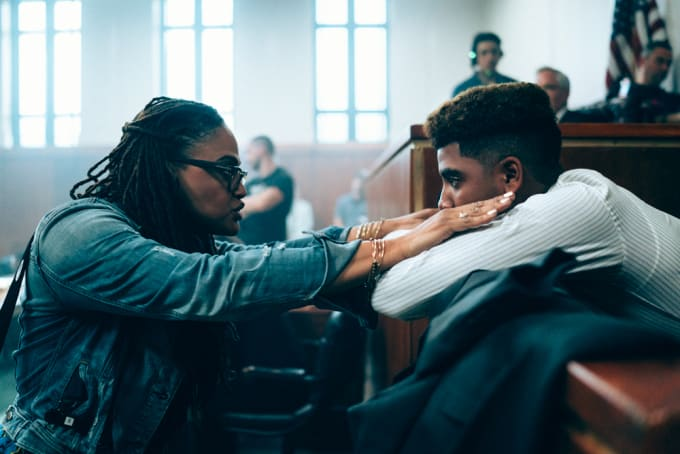 Ava DuVernay and Jharrel Jerome on the set of 'When They See Us'