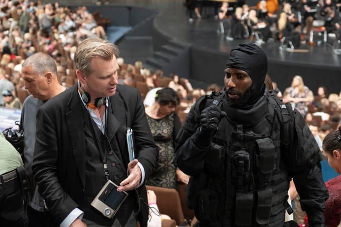 Christopher Nolan and John David Washington on the 'Tenet' set
