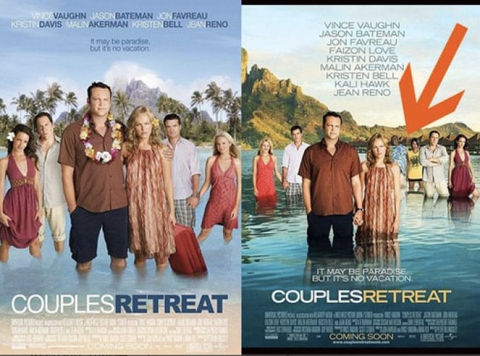 Both posters used for the 2009 film 'Couples Retreat.'
