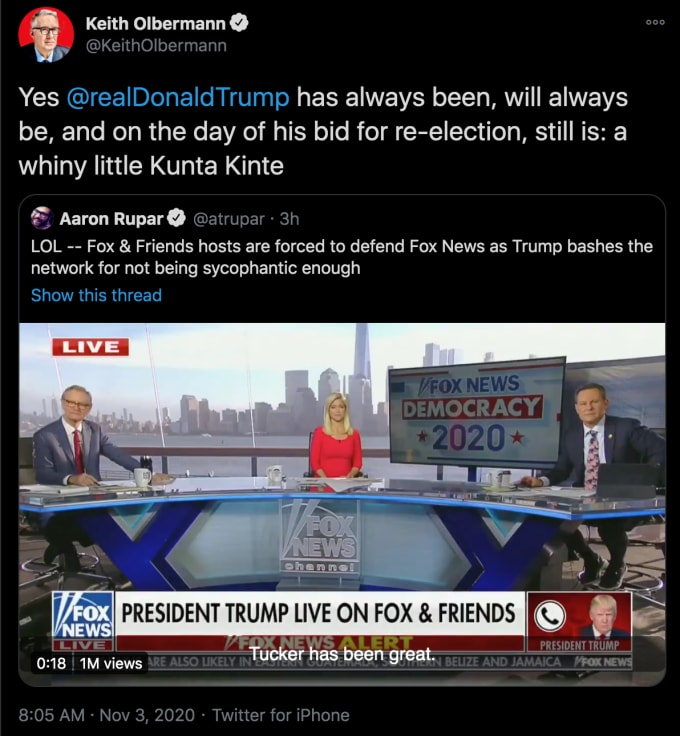 Keith Olbermann Criticized For Calling Trump A Whiny Little Kunta Kinte Complex Espn said it would suspend keith olbermann for the rest of the week in light of snarky remarks the popular broadcaster made on twitter about a pennsylvania state university fundraiser and some of. whiny little kunta kinte