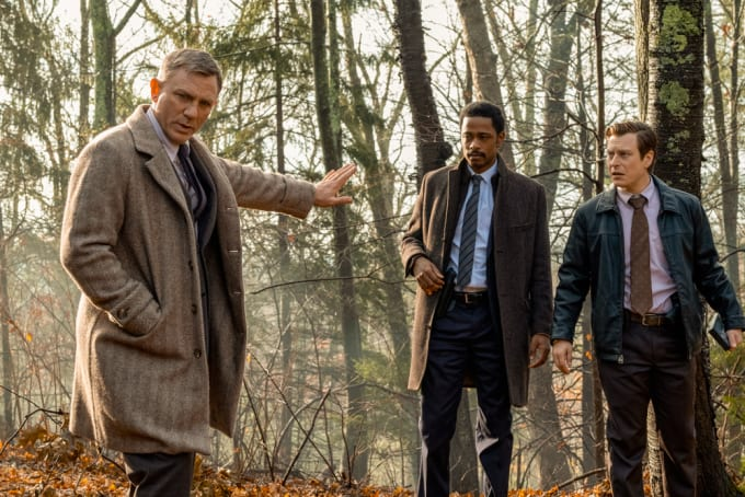 Daniel Craig, LaKeith Stanfield), and Noah Segan in 'Knives Out'