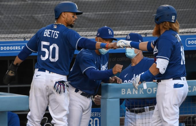 Mookie Betts Justin Turner Dodgers Exhibition 2020
