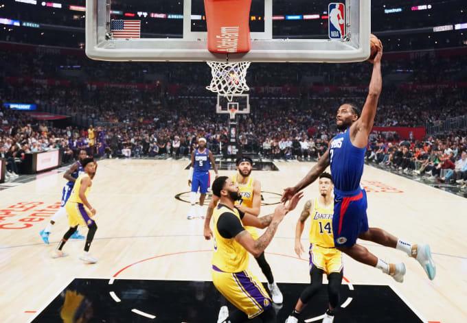 Kawhi Leonard Clippers Lakers October 2019 Dunk Anthony Davis