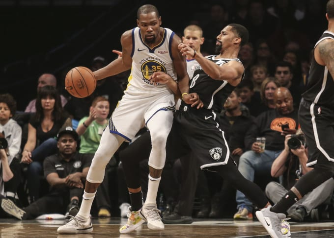 Kevin Durant Spencer Dinwiddie Warriors Nets 2018