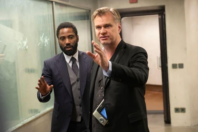 John David Washington and Christopher Nolan on the 'Tenet' set