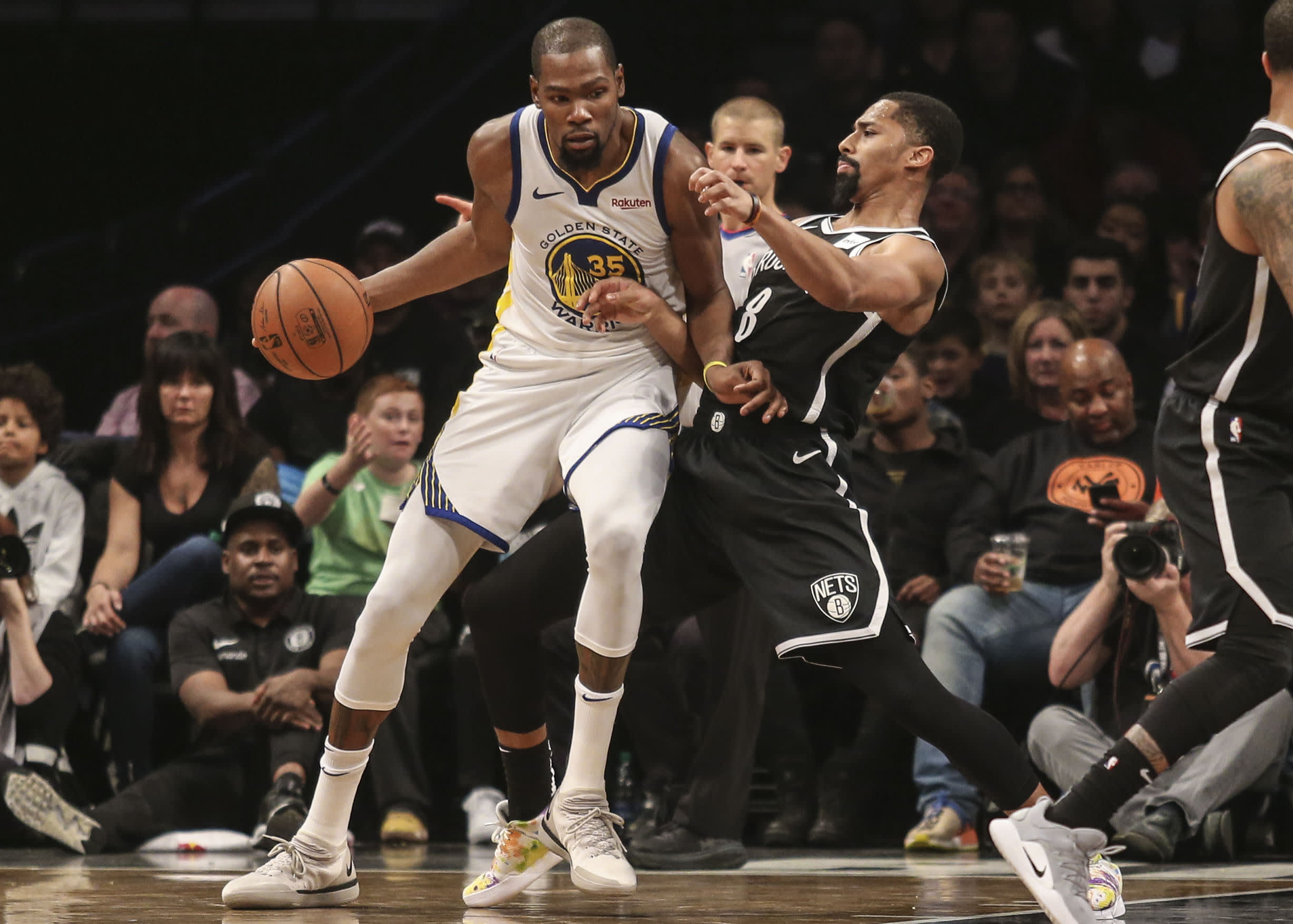 Kevin Durant Spencer Dinwiddie Warriors Nets 2018