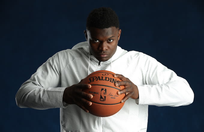 Zion Williamson poses for a portrait at the 2019 NBA Draft Combine.