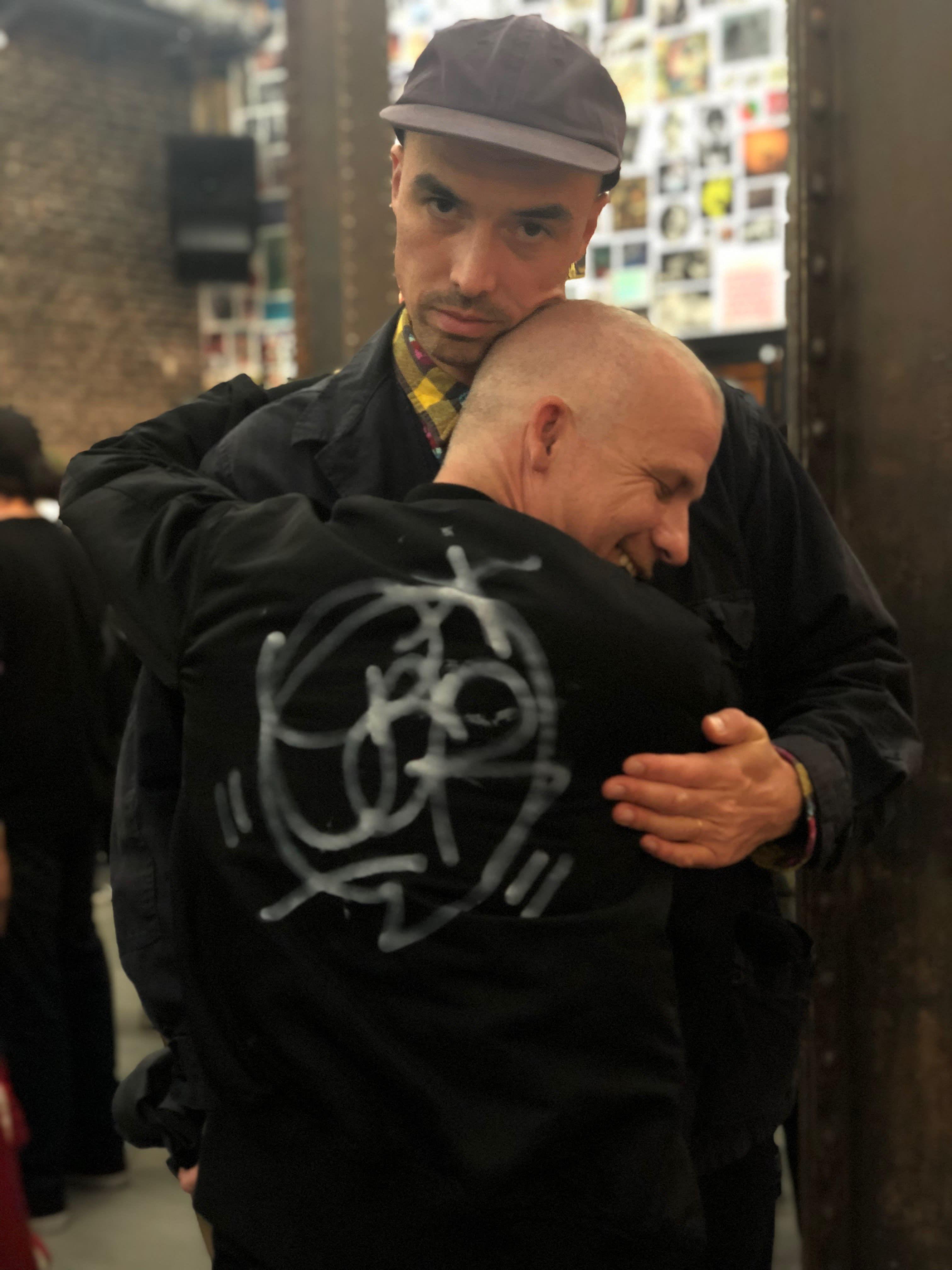Jason Dill Hugging Brenadn Fowler at Supreme San Francisco