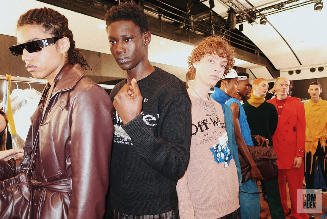 Complex Backstage at Off White's Fall Winter 2020 Runway Show