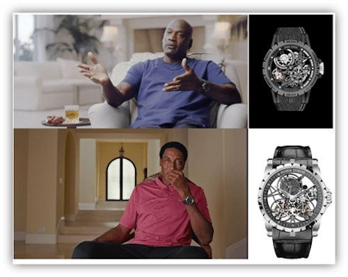 Screenshot from 'The Last Dance' featuring watches of Scottie Pippen and Michael Jordan.