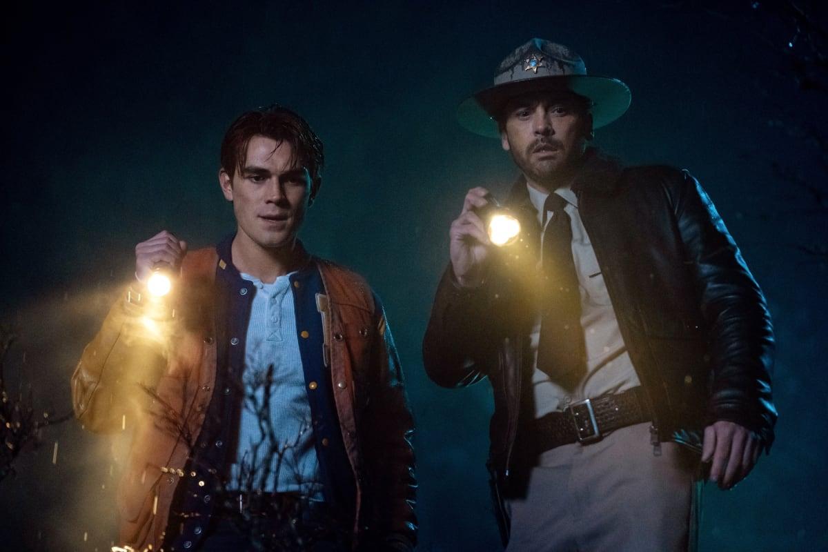KJ Apa as Archie and Skeet Ulrich as FP Jones on Riverdale