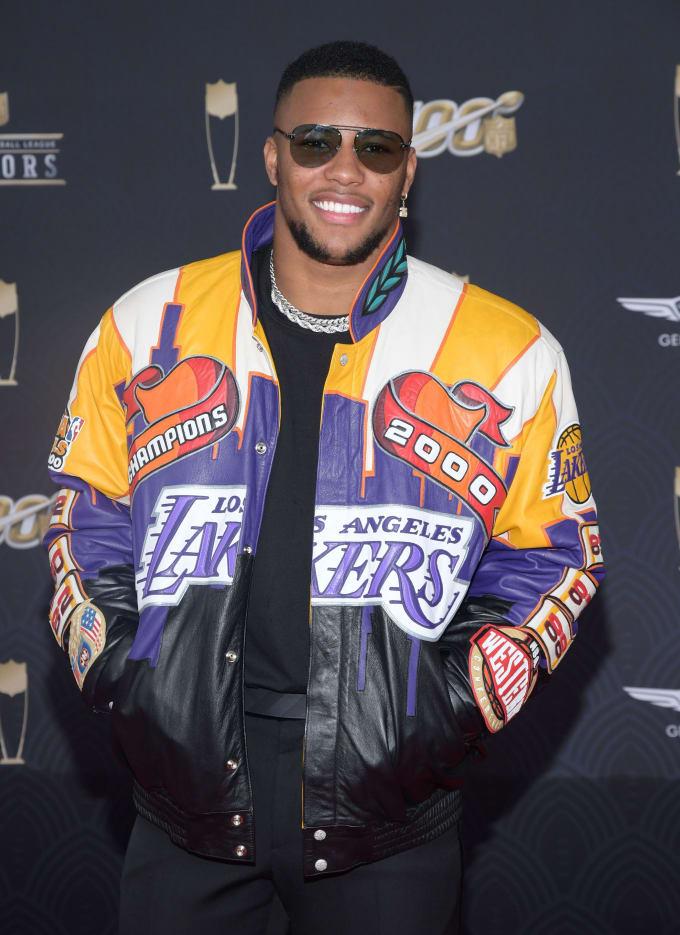Saquon Barkley in a Leather Kobe Tribute Jacket