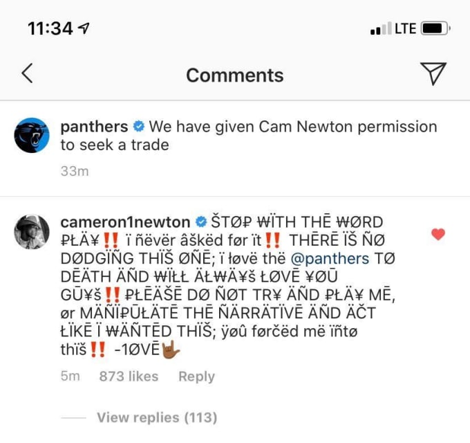 Cam Newton responds to Panthers' IG